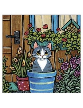 Potted Cat Greetings Card